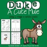 Duke A Cute Mule {long u, magic e!}