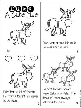 Duke A Cute Mule {long u, magic e!}