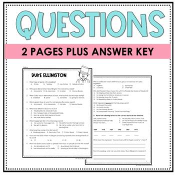 Duke Ellington Biography, Assessment, Vocabulary and Vocabulary Quiz