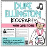 Duke Ellington Biography and Questions, Black History Month