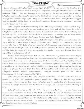 Duke Ellington Differentiated Reading Passages