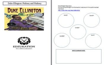 Duke Ellington Pinkney Common Core Reading Comprehension Unit Study