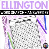 Duke Ellington Word Search, April Activities, Black History Month
