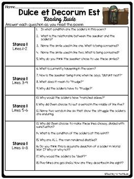 Dulce et Decorum Est Poem Reading Guide, Theme Analysis, Comprehension, WWI