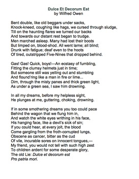 Dulce et Decorum Est by Wilfred Owen - Lessons, Analysis, & Writing Activity