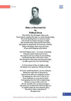 'Dulce et Decorum Est', student handout