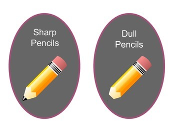 Dull and Sharp Pencil Cup Labels