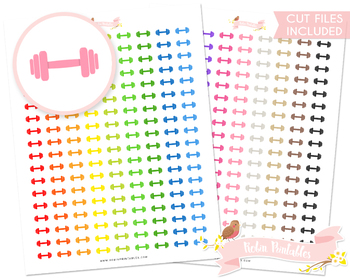 Dumbbell Printable Planner Stickers