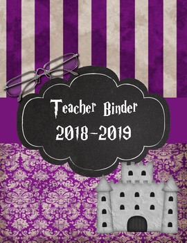 Hogwarts Teacher Binder 2017-2018 Purple Damask