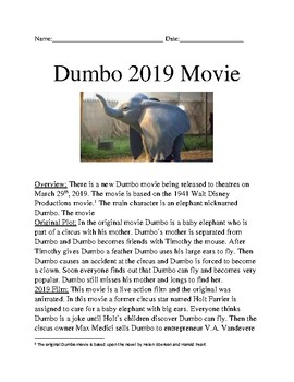 Dumbo 2019 Movie - Film review plot facts information questions word search
