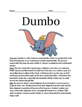 Dumbo - Disney movie character - review article history lesson facts questions