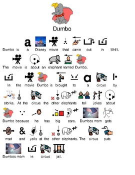 Dumbo - picture supported text - disney character review lesson questions facts