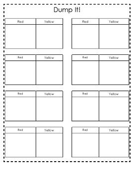 Dump It! Math counter activity for red & yellow or red & white counters