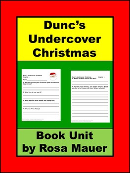 Dunc's Undercover Christmas by Gary Paulsen Book Unit