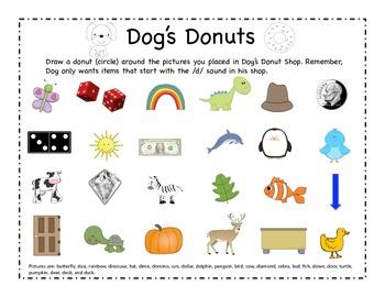 Dog's Donuts - Letter D Beginning Sound Sort