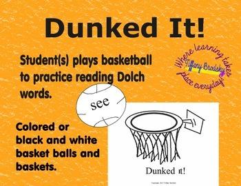 Dunked It! Pre-Primer Dolch Words Reading Fluency & Vocabu