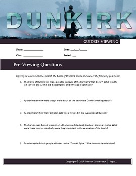 Dunkirk (2017) Guided Viewing (Movie Guide) Worksheet