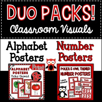 Duo Pack Polka Dot Alphabet and Number Posters
