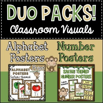 Duo Pack Safari Alphabet and Number Posters