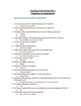 Duolingo Spanish Podcast Episode 1 Comprehension Question