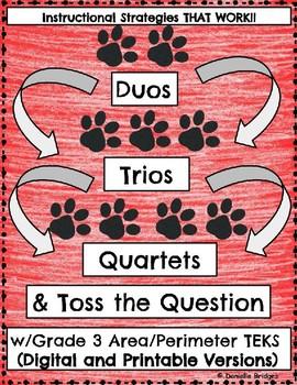 Duos, Trios, Quartets & Toss the Question w/Area/Perimeter: Digital+Printable