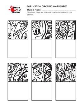 Duplication Drawing Worksheet for Middle/High Grades