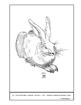 Durer,  Albrecht.  The Hare.  Coloring page and lesson plan ideas