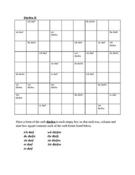 Dürfen German verb present tense Sudoku
