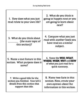 During Reading Comprehension Cards