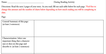 During Reading Strategy - One Chart Per Page