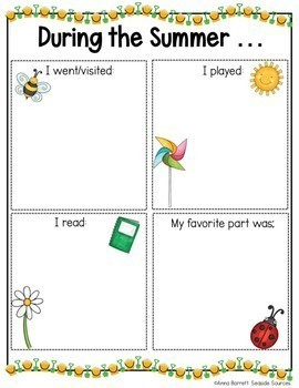 During the Summer Writing Activity