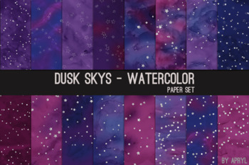 Dusk Skys Watercolor Space Stars12x12 Digital Paper Texture Background