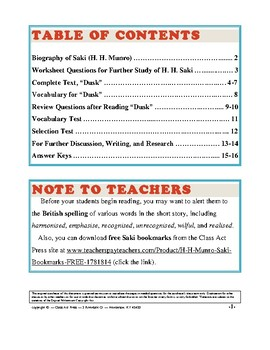 Dusk: Study Guide for Saki's Short Story (Full Text, 15 Pages, Answer Keys, $4)