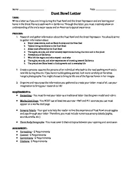 Dust Bowl Letter: A Creative Mini-Research Assignment