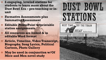 Dust Bowl Work Stations (use w/Of Mice and Men or by itself)