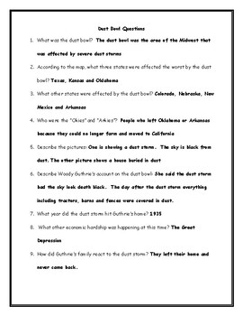 Dust Bowl Worksheet with Answer Key