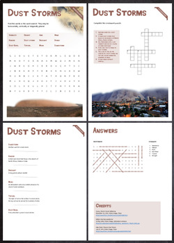 Dust Storms - Puzzles & Glossary