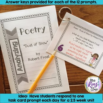 Poetry Task Cards Dust of Snow by Robert Frost Poetry Analysis