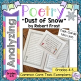 Poetry Task Cards Dust of Snow by Robert Frost Poetry Analysis Mini Unit
