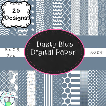 Dusty Blue Digital Paper Bundle