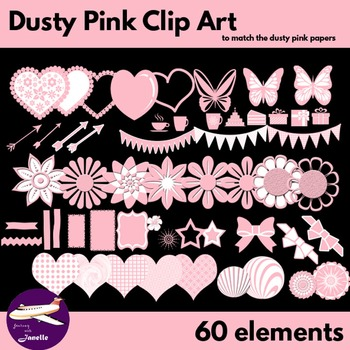 Dusty Pink Clip Art Decoration Scrapbooking Elements - 60 items