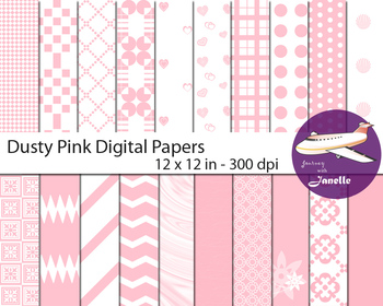 Dusty Pink Digital Papers for Backgrounds, Scrapbooking  & Classroom Decorations