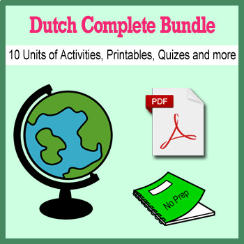 Dutch Bundle for Smart Teachers: 10 beginner units & ☆147+☆ NO PREP printables