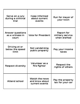 Duty-Responsibility Game