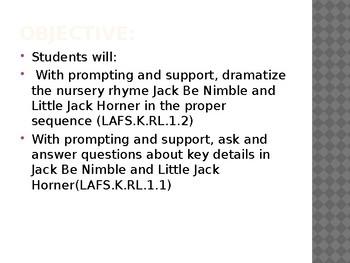 Duval Reads Unit 1 Nursery Rhymes Lesson 3a Jack Be Nimble/3b Little Jack Horner