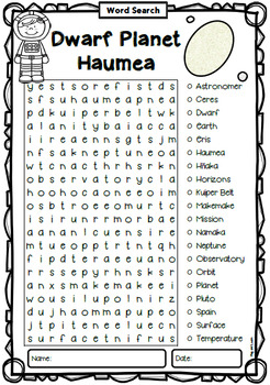 Dwarf Planet Haumea Word Search