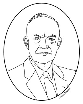 Dwight D. Eisenhower (34th President) Clip Art, Coloring Page or Mini Poster