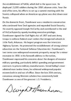 Dwight D. Eisenhower Handout