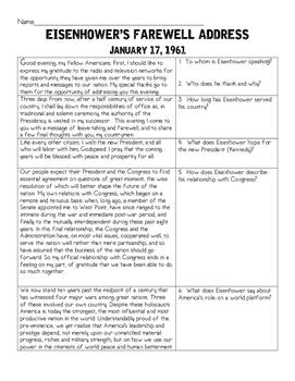 Dwight D. Eisenhower's Farewell Address Analysis, Comprehension Questions