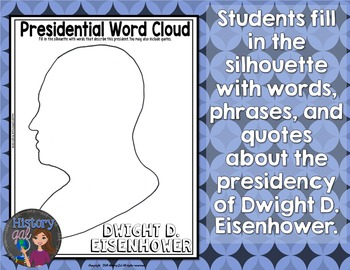 Dwight Eisenhower Coloring Page and Word Cloud Activity